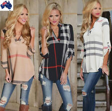 Womens Plaid Shirt V Neck Long Sleeve Blouse Loose Shirts Casual Blouse Tops