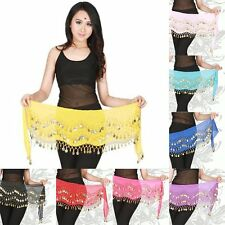 Women 3 Rows Belly Dance Hip Skirt Scarf Wrap Belt Hipscarf with 107 Goin Coins