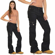 Pack of 2 Ladies Wide Denim Combat Trousers Cargo Jeans Boyfriend Pants
