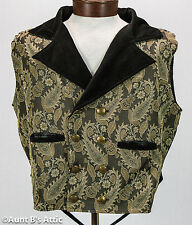 Steampunk Vest Men's Black & Tan Brocade & Velvet Double Breasted Full Back Vest