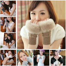 Fashion Women's fur Knitted Fingerless Winter Gloves Unisex Soft Warm Mittens f1