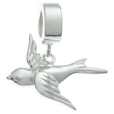 Sterling Silver Peace Flying Swallow Bird Dangle for European Charm Bracelets