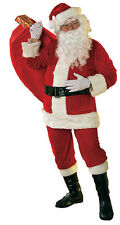 Soft Velour 6 Piece Santa Claus Suit Faux Fur Trim Adult Men's Christmas Costume