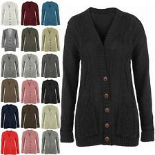 Womens Long Chunky Cable Knitted Button Ladies Grandad Long Sleeve Cardigan 8-14