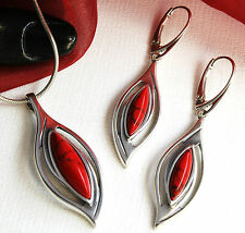 Real 925 Silver JEWELRY SET with coral, PENDANT + Earrings incl. Jewellery case