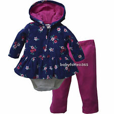 Carter's baby girls bodysuit pants cardigan outfit size 3 6 9 12 18 24 months