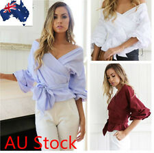 Summer Sex Long Sleeve Women V Neck Loose Casual Blouse Crop Tops Shirt Tops