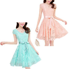 women Noble elegant short sleeve lace chiffon dress Korean casual sweet WS