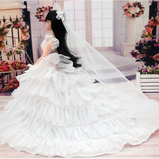 Fashion Wedding Evening Party Trailing Dress Petal Skirt Gown for Barbie Doll