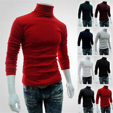 Men's Fashion Casual Turtle Neck Pullover Slim Fit Long Sleeve Tops T-shirt Hot