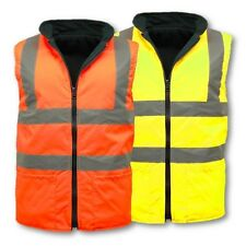 HI VIS REVERSIBLE FLEECE BODYWARMER S-4XL WORKWEAR VISIBILITY HIGH VIZ SAFETY