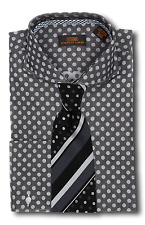 Dress Shirt Seven Land-Rounded Cutaway Collar-FrenchCuff-Charcoal/Blk-DA617-BK
