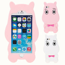3D Cute Hippo Cartoon Soft Silicone Case Cover Skin For iPhone 5 5S 6 6S 7 Plus