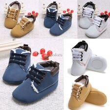 New Toddler First Walkers Lace-up Baby Prewalker Sole Sneakers Crib Shoes CO99