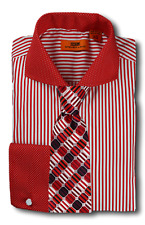 Dress Shirt Steven Land - Cutaway Spread Collar  French Cuff- Red -DC1224-RD