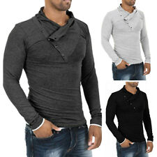 Men's Fashion Tops Slim Fit Casual T-shirts Polo Shirt Long Sleeve Cotton Tee w0