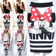 New Women Minnie Mouse Striped Zip Up Pencil Skirt Slim Bodycon Party Midi Dress