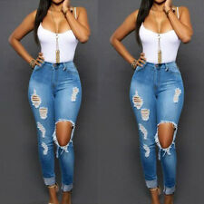 Womens Ladies Denim Skinny Fit Ripped Jeans Slim Stretch Pencil Trousers Pants