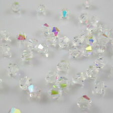 Wholesale!  DIY 100-1000PCS  4mm Austria  Crystal 5301# Bicone Beads WhiteAB