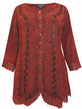 Womens plus size 24 26 28 top rust romantic embroidered button thr 3/4 sleeve