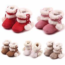 BABY KIDS GIRLS INFANTS WINTER FUR LINNED SNOW ANKLE BOOTS CRIB SHOES TRAINER