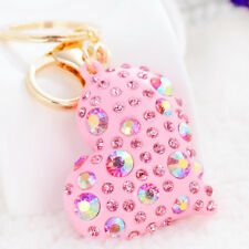 Luxury Love Heart Crystal Key Chain Girl's Car Key Ring Pink/Blue/White Keychain