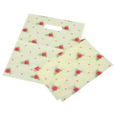 50 Pcs White Floral Patch Handle Carrier Gift Shopping Plastic Gift Bags 2 Size