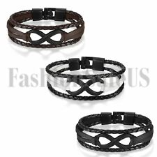 NEW Jewelry Fashion Love Infinity Leather Charm Bracelet Bangle for Men/Women