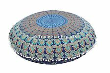 """Large Meditation Floor Pillows Indian 32"""" Cushions Round Shams With Insert Throw"""