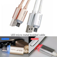 LED Aluminum Data Sync Micro USB 2.1A Charging Charger Cable For Samsung US Ship