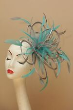 NEW Silver & Turquoise Fascinator Hat/choose any colour satin & feather colour