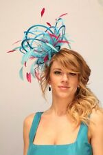 Turquoise & Hot Pink Fascinator Hat/Choose any satin/highlight feather colour
