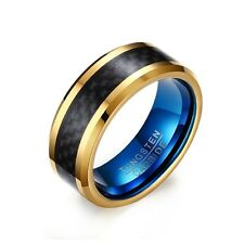 Blue/Gold Plating Carbon Fiber Band Men's Tungsten Carbide Party Ring Size 7-12