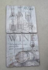 NOVELTY WINE SIGN VINTAGE PLANKING STYLE WHITE DISTRESSED & BROWN DETAIL 2CHOICE