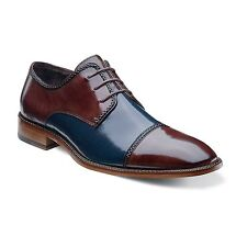 Stacy Adams Mens Navy Brown Brayden Leather Cap Toe Oxford Dress Casual Shoe
