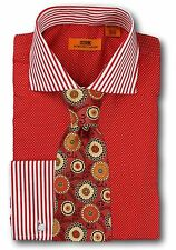 Dress Shirt Steven Land - Cutaway Spread Collar  French Cuff- Red -DC1196-RD