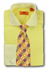 Dress Shirt Steven Land - Cutaway Spread Collar  French Cuff-Yellow-DC1196-YE