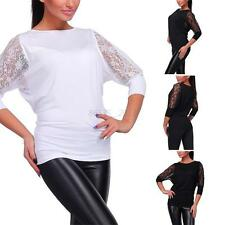 Fashion Women Ladies Casual Solid Lace Long Sleeve Crew Neck T-Shirt Top Blouse