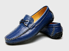 2017 New Men's Casual Genuine Leather Shoes moccasin Blue Slip on Size