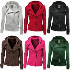 Womens Hoody Hoodie Sweatshirt Zip Winter Coat Fleece Biker Jacket Sweater Tops