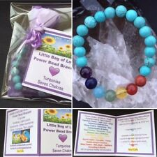 Quality Turquoise Seven Chakra Power Bead Bracelet - Healing Gemstones Gift
