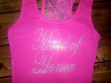 HOT PINK LACE MAID OF HONOR SHIRT - BRIDESMAID LACE TANK TOP - BRIDE TO BE