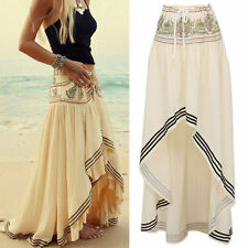 Women's Gypsy Boho Tribal Floral Skirt Maxi Summer Beach Long Casual Skirt Dress
