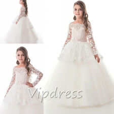 Off The Shoulder Flower Girl Dresses Long Sleeve Ball Gowns Princess Pageant New