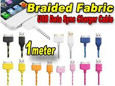 Braided Fabric USB Data Sync Charger Cable iPad 3/2 iPhone 4/4S/3GS/3G  AU Stock