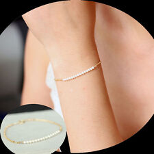Celebrity Vogue Exquiste Imitation Pearl Bead Gold Bracelet Bangle Gift UK