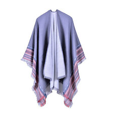 Boho Warm Ladies Cashmere Striped + Fringed Shawls Ponchos Pashmina Capes Wraps