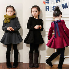Kids Girls Bowknot Flare Pleated Tunic Dress Party Skater Skirt Princess Dresses