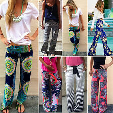 Women Floral Loose Casual Beach Boho Trousers Straight Leg Palazzo Long Pants