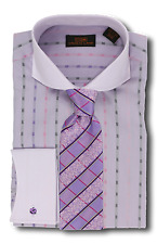 Dress Shirt Steven Land - Cutaway Spread Collar | French Cuff-Purple -DW610-PU